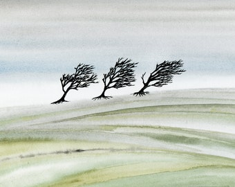 Landscape Painting Watercolour Print Pen and Ink Drawing Wall Art by Melanie Colletta of Hallelujah Tree.