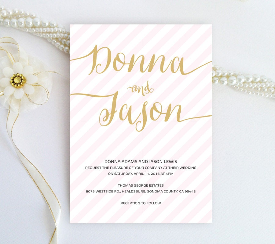 Calligraphy Style Striped Wedding Invitation Blush Pink