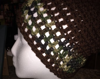 Multicolored crocheted beanie