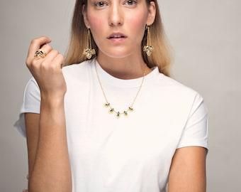 Gold plated Earrings - Egyptian Dangle Earrings - Oriental Earrings - Isis Earrings - Unique Dangle Earrings - handmade jewelry