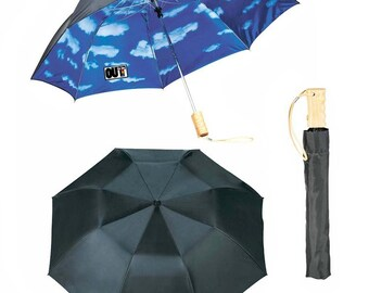 SALE! OUT is in USA Blue skies Umbrella,black umbrella, pride umbrella, rainbow umbrella, gay pride umbrella, grey skies are gonna clear up