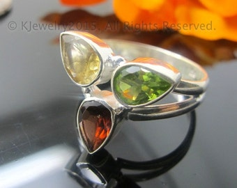 Citrine, Peridot and Garnet Ring , Sterling Silver Ring , Gemstone Ring