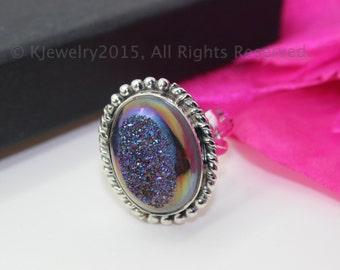 Drusy Ring, Sterling Silver Ring , Gemstone Ring