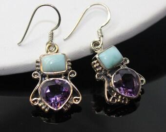 Larimar earrings, Amethyst Earrings, Sterling Silver Earrings, Gemstone Earrings