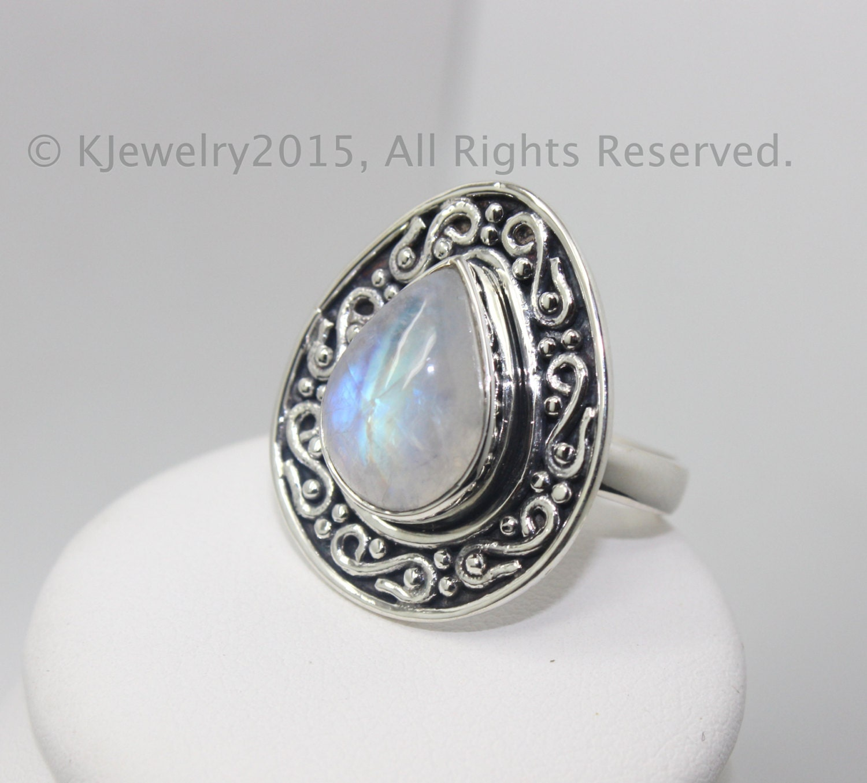 Moonstone Ring Sterling Silver Ring Gemstone by KJewelry2015