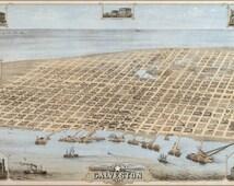 24x36 Poster; Galveston, Texas In 1871. Bird'S Eye View Map