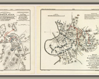 24x36 Poster; Battle Field Map Of Franklin Nashville Tennessee