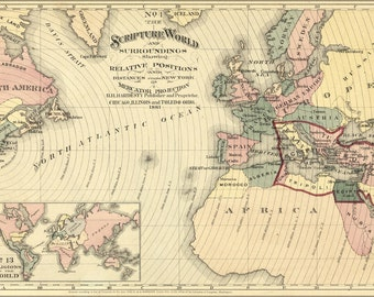 24x36 Poster; Bible Map Of Scripture World; Israel Egypt 1881