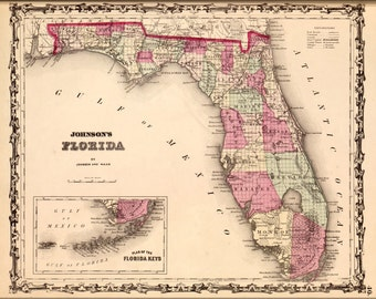 24x36 Poster; Map Of Florida 1862