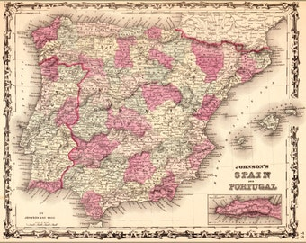 24x36 Poster; Map Of Spain And Portugal 1862