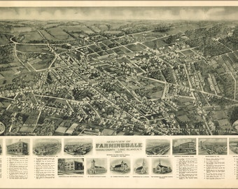 24x36 Poster; Aero-View Map Of Farmingdale, Nassau County, Long Island, New York 1925