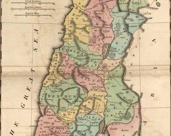 24x36 Poster; Bible Map Of Israel During Reign Of Solomon 1826