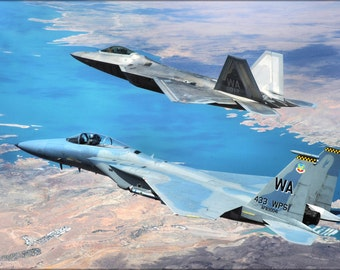 24x36 Poster; F-22 Raptor And F-15 Eagle