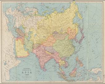24x36 Poster; Map Of Asia; China India Russia Japan 1940