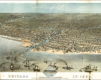 24x36 Poster; Map Of Chicago In 1868