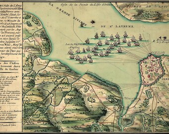 24x36 Poster; Map Of Siege Of Quebec City Canada In 1670