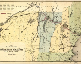 24x36 Poster; Map Of The Portland And Ogdensburg Railroad