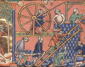 24x36 Poster; Medieval Treadwheel Crane  Middle Ages 13Th Century Drawing Of A Treadwheel Crane