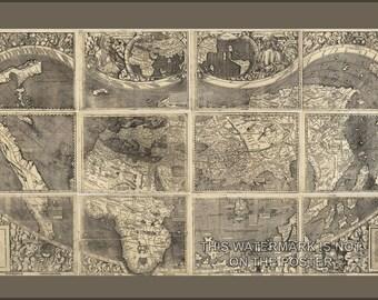 24x36 Poster; Waldseemuller World Map, Universalis Cosmographia, C1507