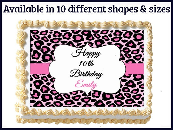 Edible cheetah print cake decorations pink cheetah for Animal print edible cake decoration