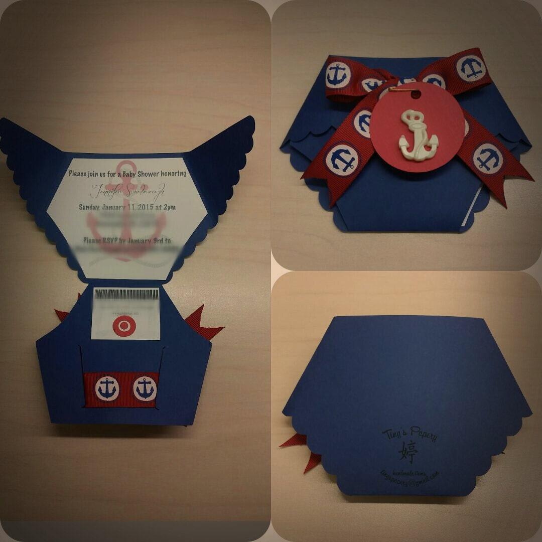 ahoy baby boy diaper shaped baby shower invitations