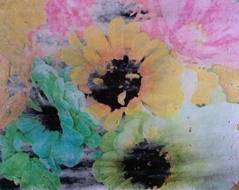 Colorful Floral Wall Art, Zinnia Bouquet, Original Photo Transfer, Size 8.5 x 11