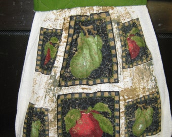 Kitchen hand towel pot holder combo Apples and pears design