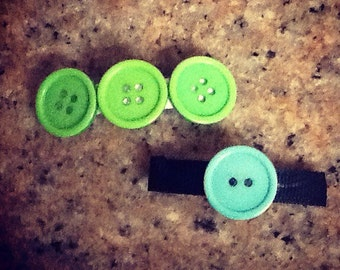 Button Hair Barrettes