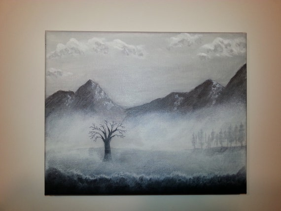 "Original Black and White Acrylic Painting Entitled ""Valley Mist"""
