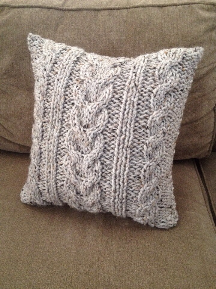 Knitted Infinity Scarves Patterns : Chunky Cable Knit Pillow Cover