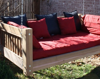Brand New Cedar Daybed Swing in Traditional style, Queen Size Swinging Bed with Hanging Chain or Rope - Free Shipping