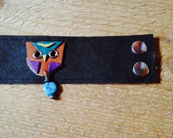 Soft brown leather cuff bracelet with woodlands owl and turquoise dangle charm