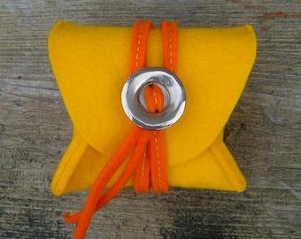 Felt Purse Yellow and Orange wool felt