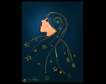Beautiful Girl with Stars in Her Hair - Digital Print/Poster