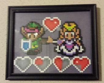 Legend of Zelda Link to the Past I Love You Framed Perler Picture