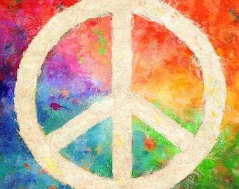 Peace Sign Print , Giclee, from Original Acrylic Painting, rainbow colors, hippy, boho