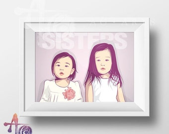Children Gift-Custom CHILDREN portrait-children wall decal-Personalized gift-Famliy Portrait-Birthday Gift-Digital Drawing-Home decor