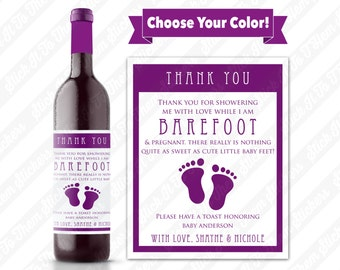 Custom Barefoot & Pregnant Thank You Wine Bottle Label - Personalized Sticker Appreciation for Cute Baby Shower Hostess Gift Present Idea