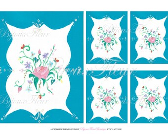 Blue French Rose Cartouche Graphic Instant Download no.102 Jar Label Decals Antique Wallpaper Collage Sheet Gift Tags PalaisFleurVintage