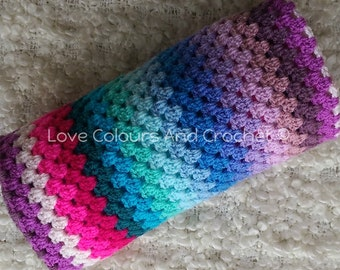 Colour Feast Striped Afghan Baby Blanket Crochet