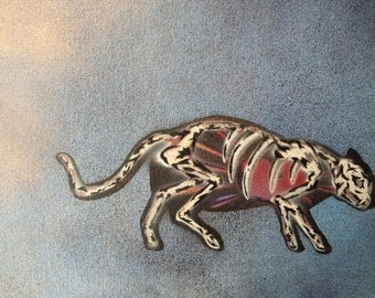 Skeleton Cat - Spray paint wall art