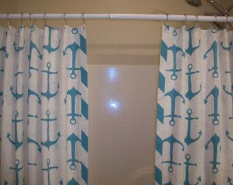 Extra Wide Shower Curtain - Ready to ship / Double Pane Bath Shower Curtain / Shoreline Ahoy Coastal Blue