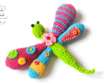 Crochet dragonfly pattern, crochet amigurumi pattern, dragonfly toy pattern, whimsical dragonfly, pattern no. 3