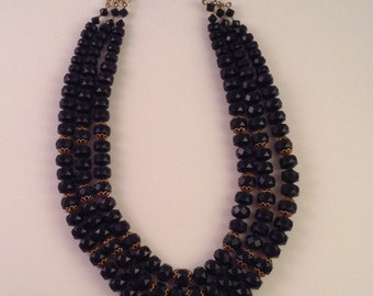 Vintage three strand black necklace made in West Germany
