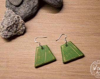 Green Wood Earrings, Distressed Wood Earrings, Eco Friendly Earrings, Boho Chic, Natural Jewelry, Geometric, Minimalistic, Summer Earrings