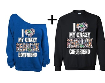 My RedNeck Boyfriend Girlfriend Couple Sweater Off Shoulder Valentines ...