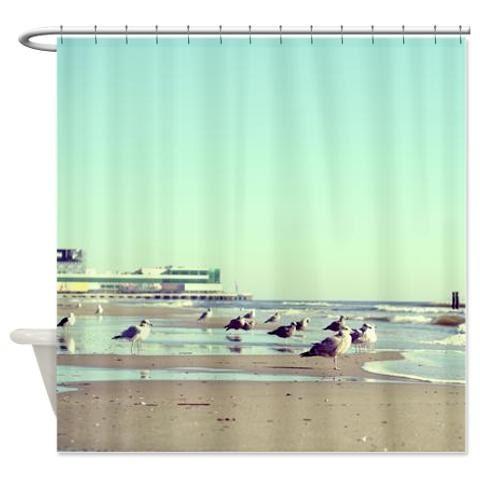 beach shower curtain seagulls sand ocean waves mint beige