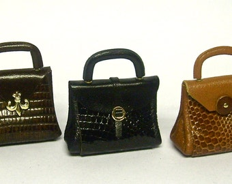 Elegant  handbag, 1/12 scale leather and reptile