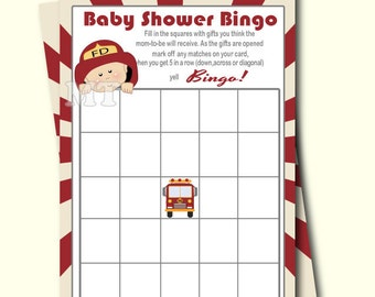 Firefighter Bingo Game- Printable Baby Shower Bingo Card Game- Baby Shower Activity- Instant Download Babyshower Games