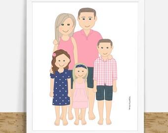 Digital Family Portrait, Custom Portrait From Photos, Custom Family Art, Original Drawing, Personalized, Digital Home Decor